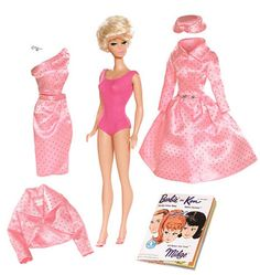 The Barbie Sparkling Pink Reproduction Gift Set is scheduled to be issued in June 2009. This is a reproduction of the 1964 Gift Set that features a Blonde Bubblecut Barbie dressed in a pink jersey swim suit, along with the Pink Satin with Silver Glitter Fashion Pak Satin Mix and Match Items: evening coat, wrap skirt, bolero, blouse, pillbox hat, shoes and faux pearl earrings.