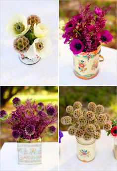 adorable tin can arrangements from the wedding chicks. no need for a special occasion when they're this cute and inexpensive to create!