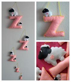 Felt Counting Sheep Nursery Decoration  Girls by EndlessFeltMagic, $170.00