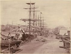 Circular Quay, Sydney in 1877 National Library of Australia. Sydney City, Kings Head Hotel, The Rocks Sydney, Herzog, Sydney Australia, Australia Map, Historical Pictures, Tall Ships, Boats