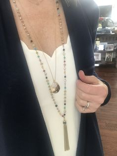 Stella & Dot 2019 spring line. Gitane tassel and amour pendent Dressy Outfits, Fall Outfits, Autumn Winter Fashion, Fall Winter, Spring Line, Stella Dot, Hustle, Turquoise Necklace, Tassel