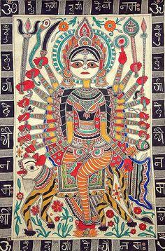 Pichwai Paintings, Indian Art Paintings, Madhubani Art, Madhubani Painting, Durga Painting, Tantra Art, Deco Originale, Indian Folk Art, India Art