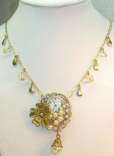 Steampunk Upcycled Vintage Pendant Necklace with Pearls and Crystals | TimelessDesigns - Jewelry on ArtFire