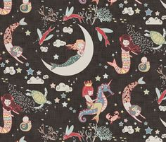 Mermaid Lullaby (Black Linen) fabric by nouveau_bohemian on Spoonflower - custom fabric