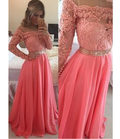 Sexy Homecoming Dresses,A-line Off the Shoulder Prom Dresses,Watermelon Prom/Evening Dress with Long Sleeves