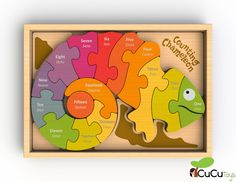 Our colorful chameleon is bilingual! This puzzle teaches numbers 1 to 15 on one side and spells out the number names in both English and Spanish on the reverse. Each chunky, double-sided piece fits sequentially for a rainbow of counting fun. Preschool Puzzles, Counting Puzzles, Number Puzzles, Wooden Numbers, Games For Toddlers, Scroll Saw Patterns, Wooden Puzzles, Wood Toys, Educational Toys