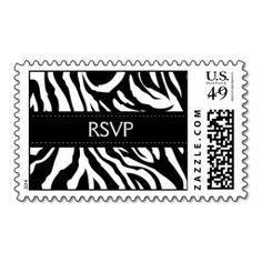 Elegant Zebra Stripes RSVP Wedding Stamps