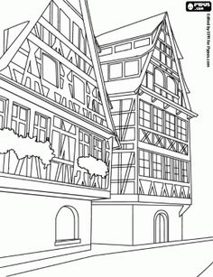 Buildings And Other Constructions Coloring Pages Printable Games
