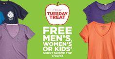 Sears Outlet: HOY GRATIS 1 Short Sleeve Top para Hombres o Niños!