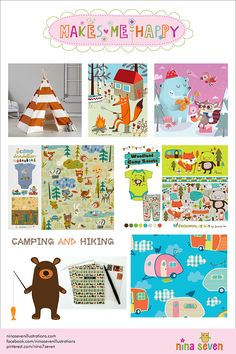 Makes Me Happy Camping Mood board by Nina Seven http://ninaseven.blogspot.com/2014/07/makes-me-happy-camping-and-hiking.html