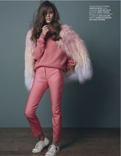 "Okay, so like Yes! The pink fur, on point. That jumper, delicious. But the trousers and shoes? Eh. Not so much. Elle France 2013, ""Think Pink"""