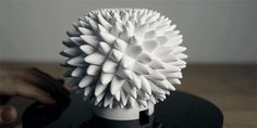 Inspired by the naturally-occurring mathematical Fibonacci sequences found in pine cones and sunflowers, Stanford University's John Edmark designed and 3D-printed these sculptures that appear come to life--with bizarre undulating animations--when filmed spinning using a strobe light or video camera with a high-speed shutter.
