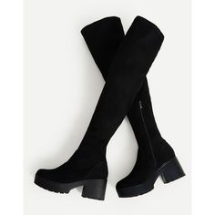 Side Zipper Over Knee Platform Boots (122.715 COP) ❤ liked on Polyvore featuring shoes, boots, side zip boots, over the knee boots, side zipper boots, over the knee platform boots and platform boots