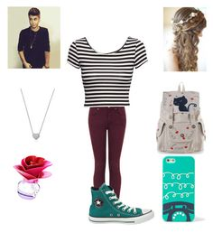 """""""First day of believe tour"""" by kala-grande ❤ liked on Polyvore featuring Topshop, H&M, Converse, Swarovski, Justin Bieber and FOSSIL"""