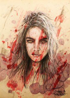 """Inferno / Collection """"Parhélie"""" / 21 x 29.7 cm / Modèle : #deniserichards / #portrait #art #sketch #fredml #ink #aquarelle #drips #sketching #streetart #emotion #expression #sensual #woman #fluo #red #purple #dangerous"""