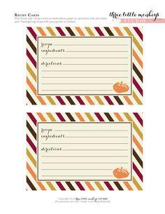Free printable Thanksgiving recipe cards #free #printable #thanksgiving