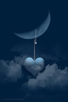 """Beautiful heart and moon picture. I absolutely love this picture! Turned out to be the picture we used for Relay for Life. A part of all of our hearts are hanging on the moon to be close to our Amy. We will always love her """"to the moon and back"""". Moon Moon, Moon Art, Blue Moon, Stars And Moon, Over The Moon, You Are My Moon, I Love Heart, Beautiful Moon, All Things Purple"""