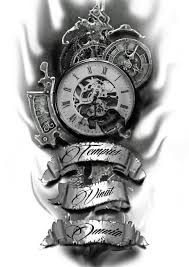 Image result for clock tattoo designs