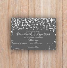 Grey Wedding Invitation, Romantic, Night, Printable Digital file, Wedding Invitation, RSVP, Invitation, response card, elegant winter invite...