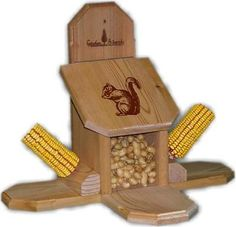 Offer peanuts and corn cobs all in one great feeder. Since variety is the spice of life, you can bet squirrels will love this combo feeder. Handcrafted of durab