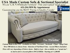 """The """"Paradise"""" - Available as a Sofa - Grande Sofa (adding 1 foot), Loveseat, Chair or King Chair. Available in over 800 fabrics. Reclining Sectional, Loveseat Sofa, Upholstered Sofa, Sectional Sofa, Recliner, Sofas, Home Furnishing Accessories, Home Furnishings, Furniture Making"""