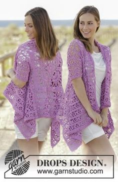 Crochet jacket worked in a square with lace pattern and short sleeves in DROPS Cotton Light. Size: S - XXXL Free crochet pattern by DROPS Design. Crochet Bolero, Gilet Crochet, Crochet Shawls And Wraps, Crochet Jacket, Crochet Cardigan, Knit Crochet, Crochet Hooks, Cardigans Crochet, Crochet Scarves