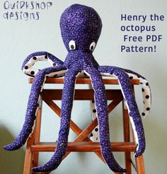 sewing projects for kids Octopus pattern – Quirkshop Design - Wow! I thought it would be fun to see what the most popular free sewing pattern was from each PDF pattern designer, expecting a few, and ended up with over 50 amazing patterns to share. Sewing Stuffed Animals, Stuffed Animal Patterns, Stuffed Toys, Sewing Patterns Free, Free Sewing, Free Pattern, Softie Pattern, Animal Sewing Patterns, Pattern Sewing