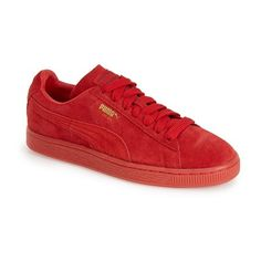 PUMA 'Suede Classic' Sneaker ($65) ❤ liked on Polyvore featuring shoes, sneakers, sparkle sneakers, suede lace up shoes, summer sneakers, suede leather shoes and laced up shoes