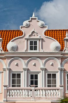 Colonial Dutch architecture in the buildings of Aruba, Caribbean.