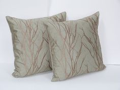 Pair Of 18 x 18 Inch Grove Lake And Golden Door Sage Green Throw Pillow Covers With Antique Gold Embroidered Tree Limbs Cushion Covers