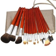 18pcs Professional Cosmetic Makeup Brush Set with Dark Grey Bag Brown, (makeup brush set, eyeshadow, eyeshadow brushes, eyeshadow palette, mash brushes)