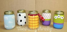 Set 5 Toy Story Inspire Mason Jar Centerpieces,Toy Story Party Decoration,Baby Shower Decor,Candy Jar,Fund Jar