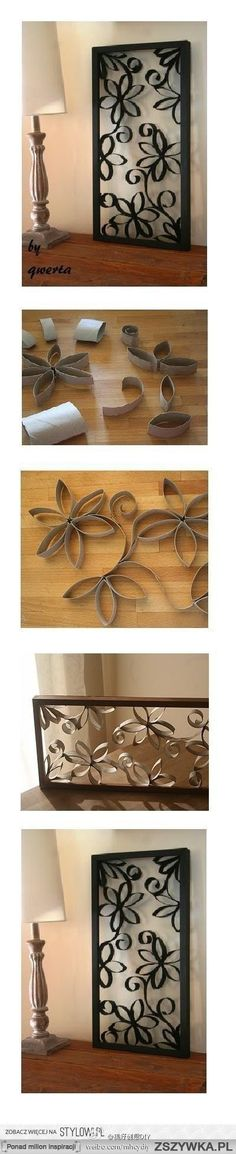 How to make a decor piece out of toilet paper rolls and a frame