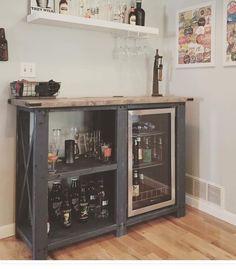 Custom coffee bar with mini fridge Diy Home Bar, Home Bar Decor, Bars For Home, Kitchen Decor, Mini Fridge Bar, Wine Fridge, Coffee Bar Home, Home Bar Designs, Wine Cabinets