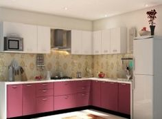 Get your L shaped Modular Kitchen BERRY BUNCH AND INTERIOR WHITE at a low factory price.