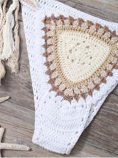 Crochet Tasselled Bikini OFF-WHITE: Bikinis | ZAFUL