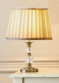 Antique Look Brass Table Lamp with Pleated Shade 35cm x 25cm - Matalan