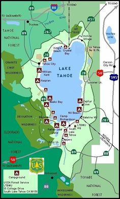Lake Tahoe Basin Map and links to hiking trails