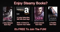 Steamy new releases, book specials, freebies and Amazon Gift Cards given away each day!
