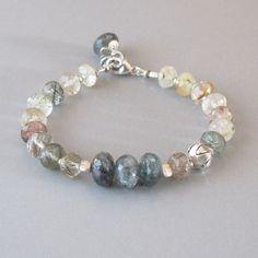 Rutilated Quartz Kyanite Bracelet Sterling Silver Bead Gemstone DJStrang Green Boho Cottage Chic