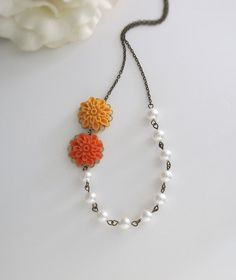 Autumn Pumpkin Ombre Pompom Flowers White Swarovski Pearls Woodlands Necklace. Fall Jewelry Bridesmaid Gift. Bridal Necklace Fall Wedding
