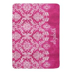 Hot Pink Grunge Damask Pattern Custom Text Baby Blanket
