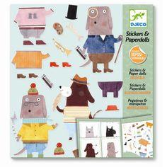 Djeco Kreativset Basten mit Stickern: Haftspiel Anziehpuppen Katzen 6+ - Bonuspunkte sammeln, Kauf auf Rechnung, DHL Blitzlieferung!