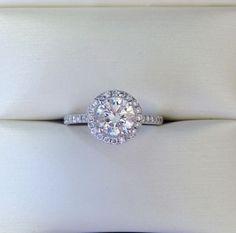 - Round Brilliant Shape Diamond Center Stone - Custom Made 14k White Gold Halo S...