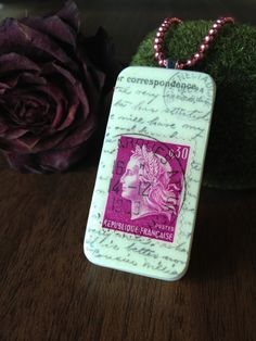 Altered Domino Tile with French Postage Stamp