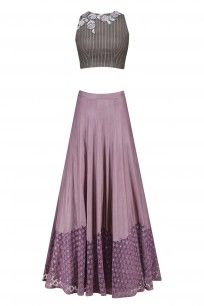 Grey Floral Apllique Work Crop Top and Lilac Skirt Set #kanishkajaipur #shopnow #ppus #happyshopping