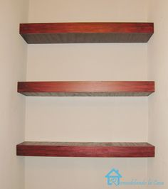 """How to build floating shelves - original link. Basically this is a plywood slip cover over 1x2 cleats. The slip needs internal bracing if it is going to be wider than 18"""". Very clear tutorial."""