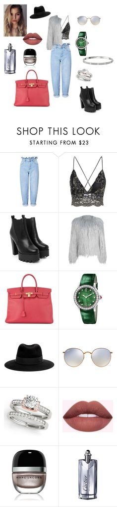 """""""Untitled #445"""" by gloriatovizi on Polyvore featuring Miss Selfridge, Nasty Gal, WithChic, Hermès, Bulgari, Maison Michel, Ray-Ban, Marc Jacobs and Cartier"""