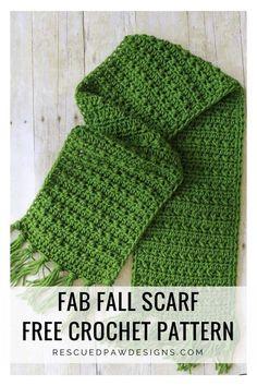Fringe Scarf Crochet Pattern for Fall - Easy Crochet Fabulously Fall Fringe Scarf – Free Crochet Pattern - Rescued Paw Designs Bag Crochet, Crochet Fringe, Crochet Gifts, Crochet Clothes, Crocheted Scarf, Crochet Mens Scarf, Crochet Cowls, Knit Cowl, Crochet Scarves For Men
