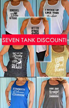 Seven Tank Discount. Burnout or Flowy Workout Tank Tops. Workout Gym Tank. Running Tank Top. Inspirational Quote. Womens Workout Clothes. Fitness Motivation. Motivational Quote. Cute Workout Tank
